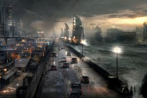 artwork futuristic city city digital art futuristic apocalyptic storm