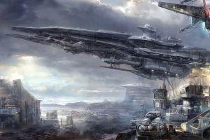 artwork futuristic city science fiction spaceship futuristic cityscape vehicle