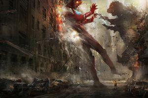 artwork godzilla destruction building