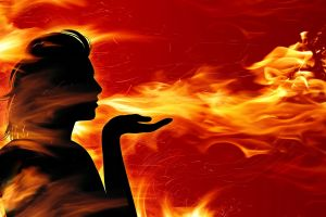 artwork hands silhouette profile women fire