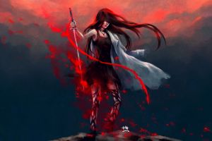 artwork long hair sword nanfe