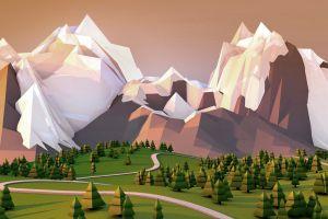 artwork low poly landscape nature mountains simple