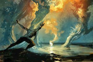 artwork magic digital art fantasy art water men