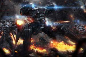 artwork mech destruction concept art soldier war fantasy art robot