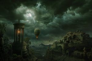 artwork moon night fantasy art hot air balloons