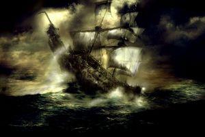 artwork old ship fantasy art sea ghost ship