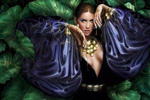 artwork painted nails leaves fantasy girl fantasy art