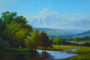 artwork painting sky landscape