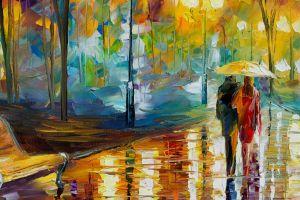 artwork painting umbrella leonid afremov park