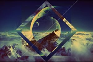 artwork planet polyscape vignette shapes sky mountains clouds abstract nature