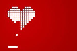 artwork red background heart brick simple simple background minimalism