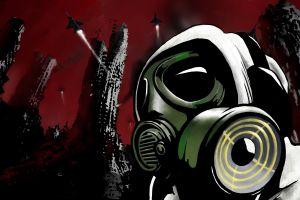 artwork red background jet fighter gas masks