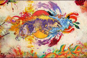 artwork wolf animals digital art fantasy art snyp anime colorful