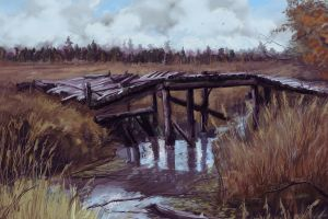artwork wood landscape bridge