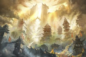 asian architecture artwork fantasy art sun rays 2012 (year) fantasy city