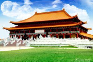 asian architecture beijing forbidden city building china digital art moon