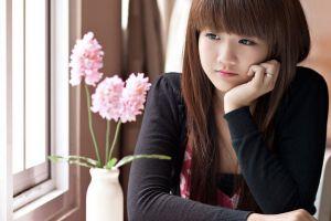asian bangs flowers women