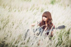 asian field musical instrument women outdoors guitar