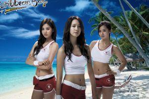 asian musician korean singer seohyun group of women kwon yuri looking at viewer yoona women snsd girls' generation beach sand
