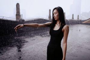 asian outdoors women brunette wet wet hair model rain women outdoors