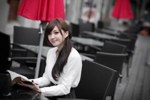 asian women books model smiling