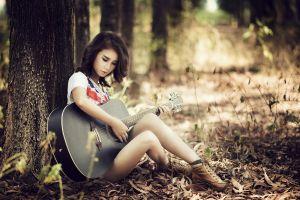 asian women outdoors women guitar outdoors musical instrument wood model