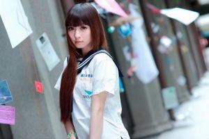 asian women urban long hair