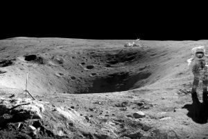 astronaut monochrome moon space crater
