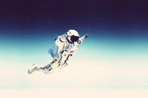 astronaut space stars space art spacesuit digital art falling red bull atmosphere felix baumgartner artwork