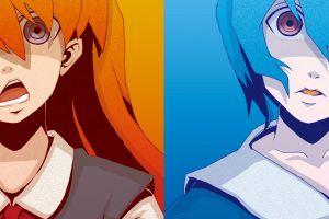asuka langley soryu ayanami rei anime neon genesis evangelion anime girls multiple display