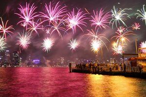 australia night fireworks colorful