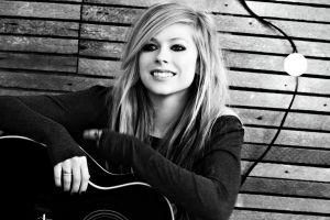 avril lavigne women celebrity smiling monochrome guitar musical instrument singer