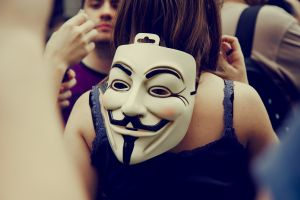 back guy fawkes mask people anonymous women