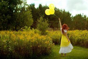 balloon outdoors model redhead women outdoors women