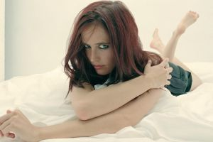 barefoot looking at viewer bed feet in the air eva green women green eyes model dyed hair celebrity actress redhead