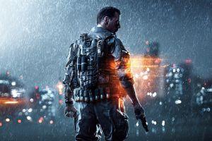battlefield 4 lights people pistol video games digital art gun soldier rain battlefield