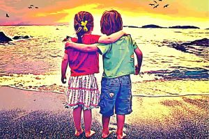 beach couple people nature digital art sunset