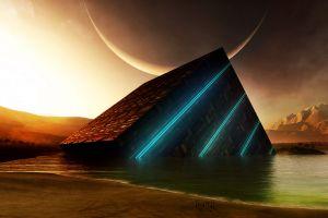 beach fantasy art sea mountains planet artwork