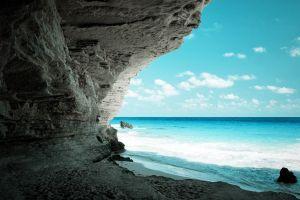 beach sea coast cave nature horizon