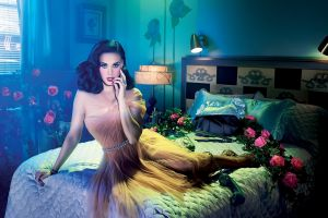 bed katy perry celebrity flowers in bed looking at viewer singer women