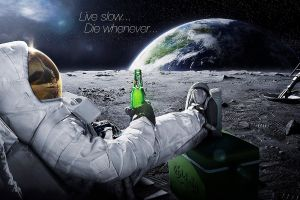 beer digital art astronaut carlsberg alcohol moon space typography