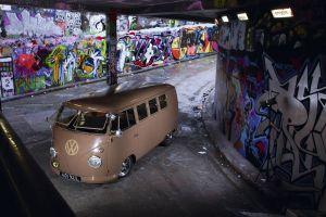 beige vehicle urban car graffiti wall volkswagen