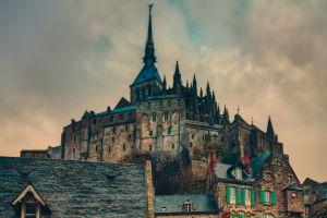 beige village old building abbey hdr france castle mont saint-michel building clouds