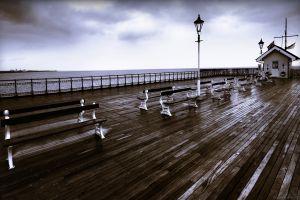 bench pier sea