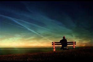 bench sky people sea