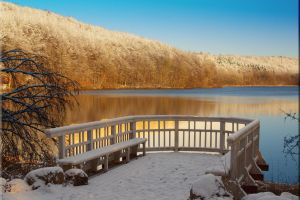bench winter water landscape