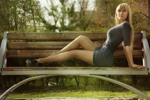bench women outdoors women legs dress blonde