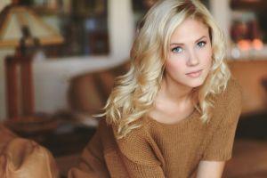 berit birkeland women indoors brown tops blonde model women looking at viewer