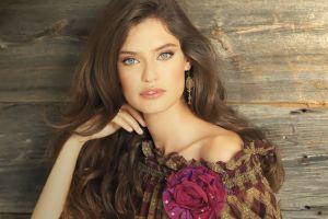 bianca balti long hair face women model portrait blue eyes open mouth brunette