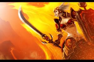 bikini armor league of legends sword shield orange background leona fantasy girl